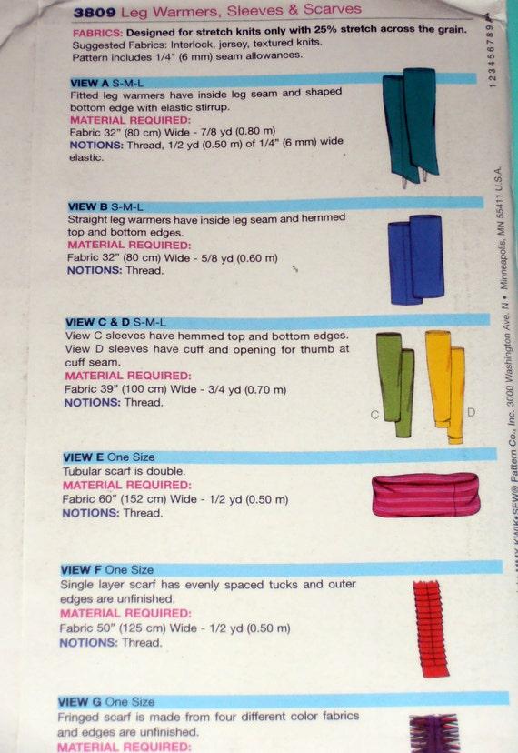 Bein Stulpen Ärmel und Schals Muster Kwik Sew 3809 | Etsy