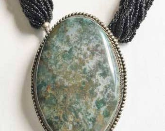 Large 'Moss Agate' On Silver Plating, Multi Strand, Necklace