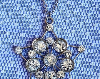 Clear Rhinestone on Silver Star Pendant Necklace