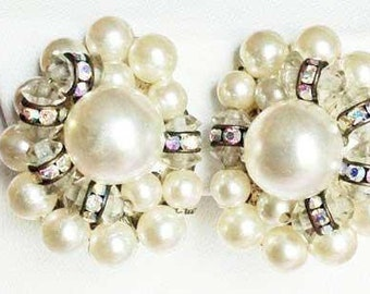 Vintage, High Fashion PEARL & CRYSTAL Cluster EARRINGS