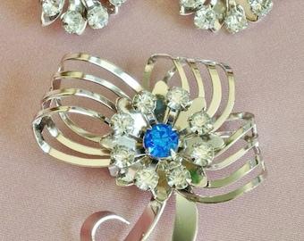 Signed 'B.N.' Blue and Clear Rhinestone on Silver Pin & Earrings Set