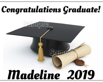 2019 Graduation Cap /& Diploma ~ 2D Edible Fondant Cake Cupcake Topper ~ D24340