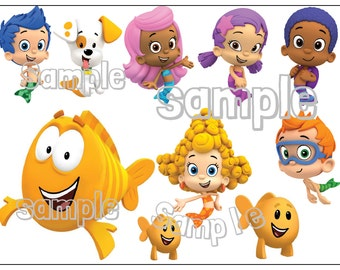 BUBBLE GUPPIES Characters Individuals Custom cake topper image decoration party Birthday sugar sheet
