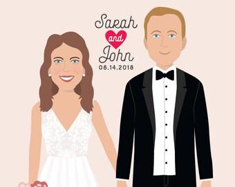 Custom Wedding Portrait, Custom Portrait, Wedding Illustration, Couple Drawing, Newlywed Gift, Newlyweds Gift, Gift For Couples,Wedding Gift