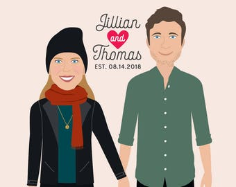 Valentines Day Gift for Husband, Custom Couple Illustration, Couple Portrait, Custom Portrait, Anniversary Gift, Custom Wedding Gift