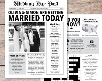 Newspaper Wedding Program, Infographic Wedding Program, Fun Wedding Program, Printable Wedding Program, Unique Wedding Program