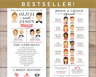 Infographic Wedding Program, Wedding Program Portrait, Fun Wedding Program, Printable Wedding Program, Unique Program, Modern Program