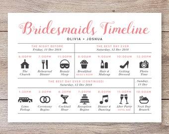 Wedding Day Timeline Etsy
