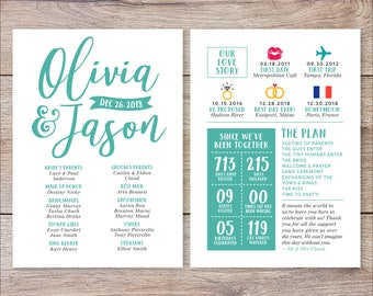 Infographic Wedding Program, Fun Wedding Program, Printable Wedding Program, Unique Program, Modern Program, Digital Download