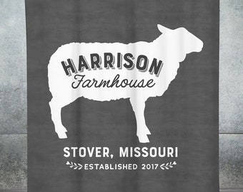 Custom Farmhouse Shower Curtain Decor Rustic Sheep Personalized
