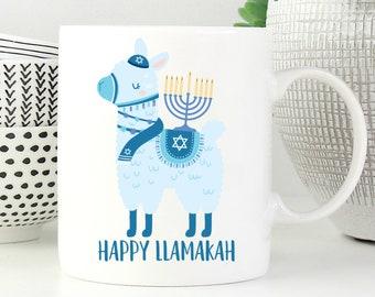happy llamakah mug funny hanukkah gift funny hanukkah mug funny jewish mug jewish gifts jewish humor punny coffee mug pun mug