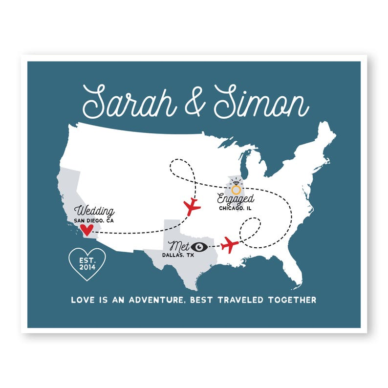 Personalized Love Story Sign Met Engaged Married First