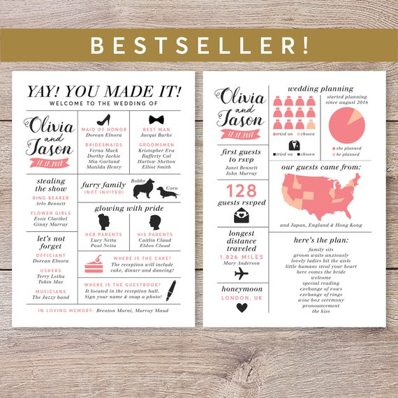 infographic wedding program fun wedding program printable etsy