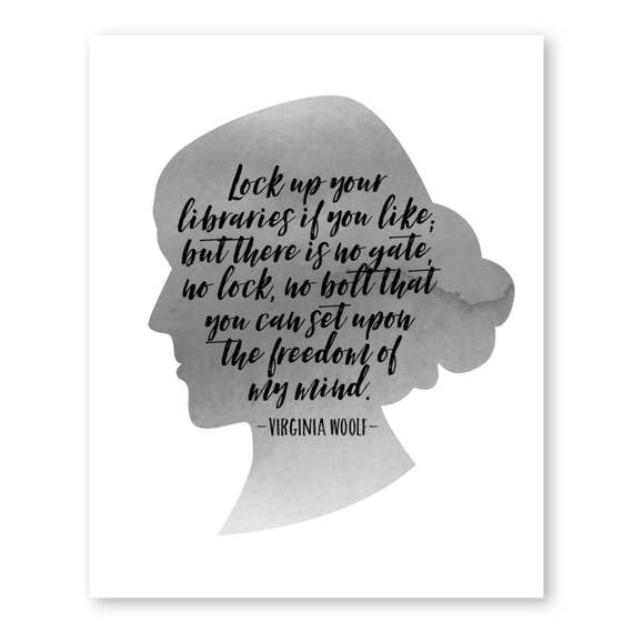 Lock Up Your Libraries Virginia Woolf Print Book Lover Gift | Etsy