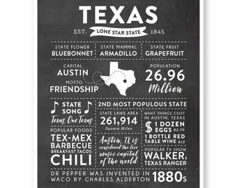 State Print, Texas State, Texas Map, State Art, State Infographic, Mens Gift, State Facts, Texas Art, Housewarming Gift
