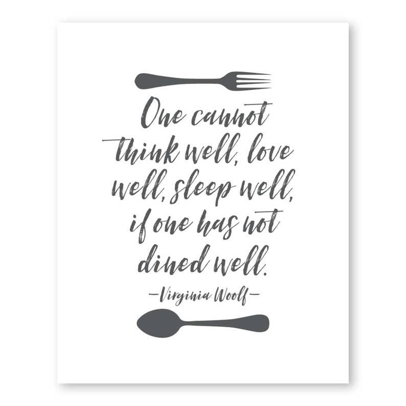 Virginia Woolf Quote - Kitchen Poster - Kitchen Print - Art Print - on