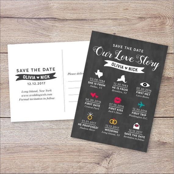 Personalized Infographic Save The Date Card Invite Wedding