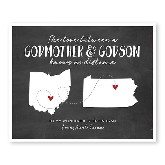 Godmother Gift, Godson Gift, Gift For Godson, Gift For Godmother, Long  Distance Gift, Long Distance Quote Print, Moving Away Gift