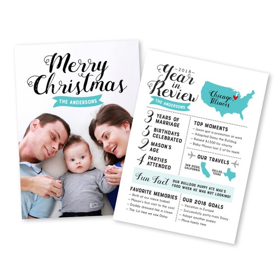 Year In Review Christmas Card Holiday Card Year In Review Etsy