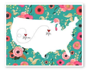 Daughter moving away etsy mother daughter gift gift for mom long distance map moving away gift negle Choice Image