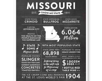 State Print, Missouri State, Missouri Map, State Art, State Infographic, Mens Gift, State Facts, Missouri Art, Home Town Love