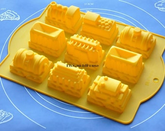 Big Trains Flexible Silicone Mold Cake Mold Chocolate Mold Cookie Mold Icing Mold Polymer Clay Mold Resin Mold Soap Mold