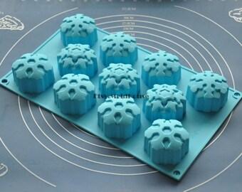 Snowfalkes Flexible Silicone Mold Cake Mold Chocolate Mold Cookie Mold Icing Mold Polymer Clay Mold Resin Mold Soap Mold