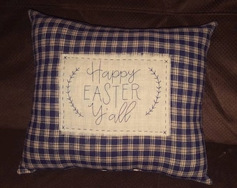 Country Primitive Homespun Pillow Happy Easter Yall