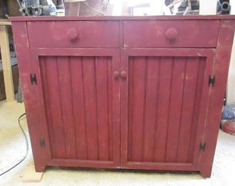 Two Drawer Cabinet w/ Bead Board Doors