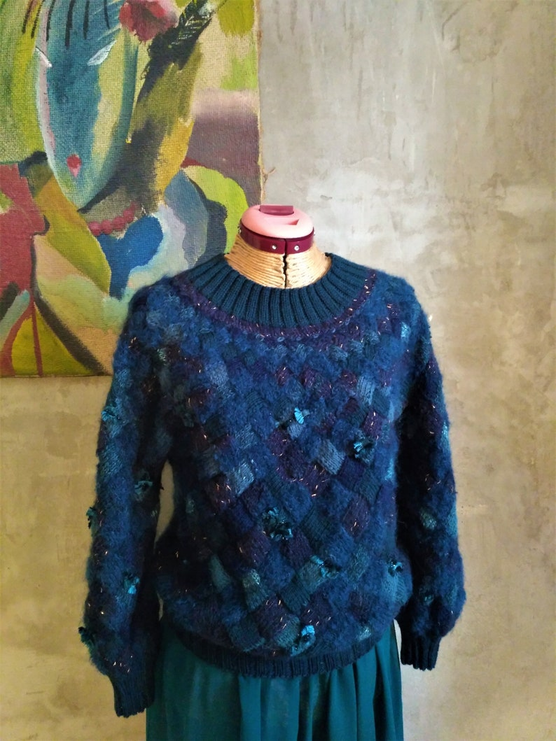 Jersey in Entrelac model Womens entrelacs sweater knitting Blue cardigan in the technique EntrelacBlue entrelacs sweater knitting