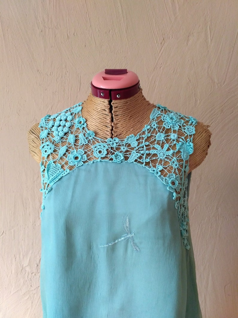 Silk dress on a lining with handmade lace decor Elegant dress for a holiday   Elegant dress of mint color   Cocktail dress of mint color