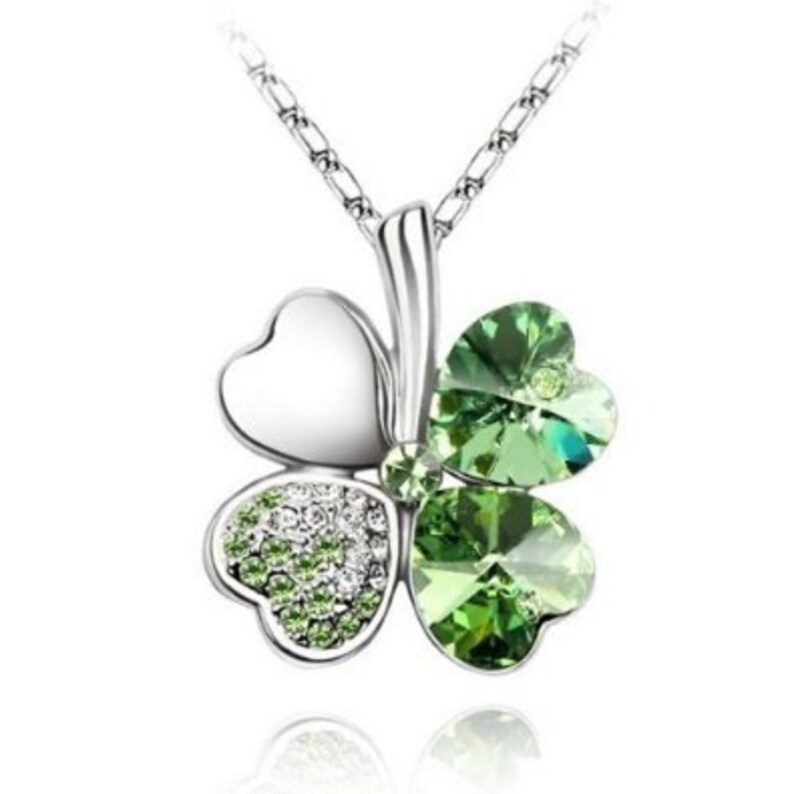 a72fa3ecec70f5 Four Leaf Clover Pendant Necklace with Green Swarovski
