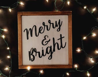 Framed Wood Sign - Merry & Bright
