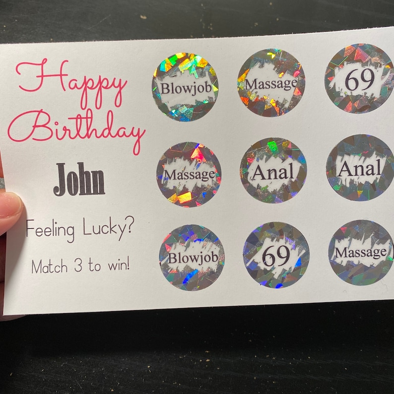 Custom Gift For HimHer Boyfriend Couple Happy Birthday Match 3 Scratch Off Card Girlfriend Naughty Scratch Off