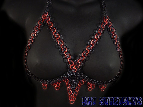 Chainmail Slave Top with Paracord Ties Size 32 to 38 C Red and Black