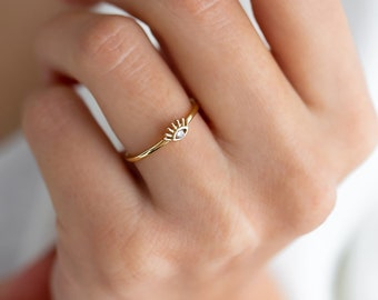Dainty Ring Gift for Her Protective Style Minimalist Ring Eye 14k Solid Gold Diamond Ring