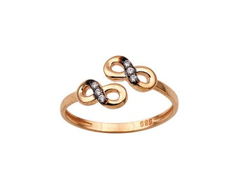 Double Infinity 14k Solid Gold Adjustable Ring