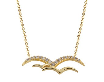 Seagulls 14k Solid Gold Necklace
