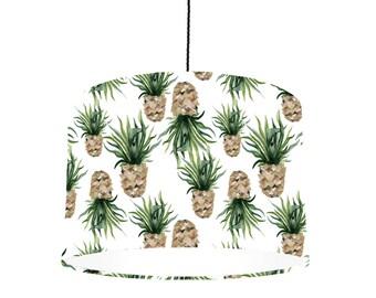Ananas Drum lampenkap met witte bekleding