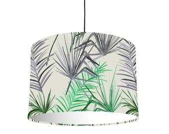Tropische blad Drum lampenkap met witte voering