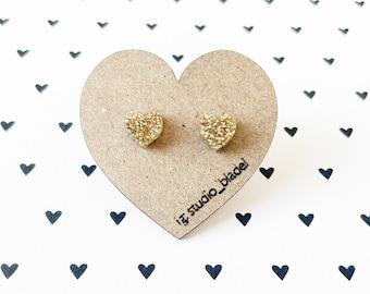 Mini gold glitter heart studs, gold acrylic earrings, heart jewelry, lightweight earrings