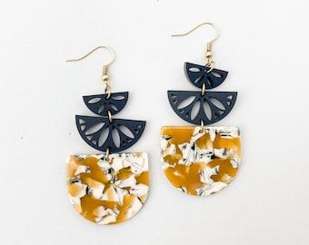 Mustard yellow statement earrings, black acrylic earrings, lightweight earrings, plastic earrings, semicircle earrings
