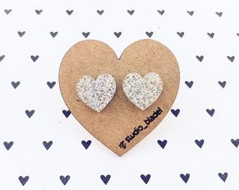 Valentine/'s Day Pink Glitter Heart Earrings Sparkle Studs