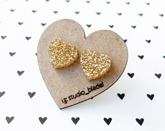 Gold glitter heart studs, cute gold earrings, sparkle heart jewelry, gifts for her