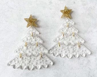 Christmas tree statement earrings, gold holiday earrings, glitter star earrings, acrylic jewelry, modern holiday jewelry, plastic earrings