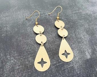 Brass star dangle earrings, celestial jewelry, lightweight earrings, brass jewelry, holiday earrings, minimalist jewelry