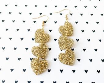 Gold glitter heart earrings, cascading heart earrings, gold jewelry, cute earrings, acrylic hearts, lightweight earrings