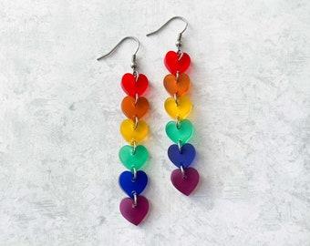 Acrylic rainbow heart earrings, colorful dangle earrings, pride jewelry, laser cut acrylic earrings, lightweight earrings