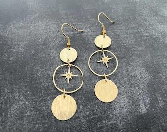 Brass star dangle earrings, celestial jewelry, lightweight earrings, holiday jewelry, brass circle jewelry