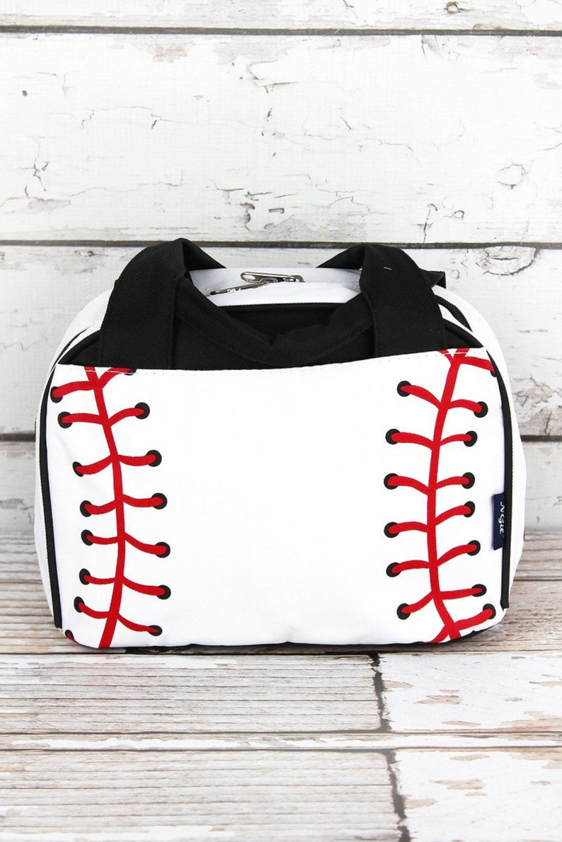 Baseball Laces Insulated Bowler Style Lunch Bag Lunch Box